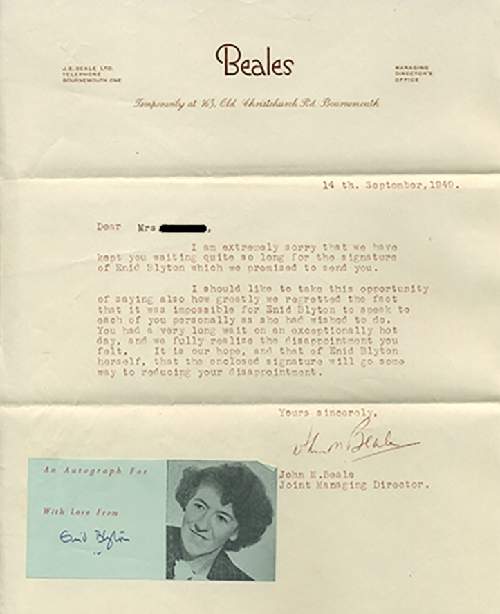 800 enid blyton beales letter with blackout