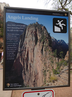 400 angels landing sign
