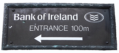 400 bank ireland sign