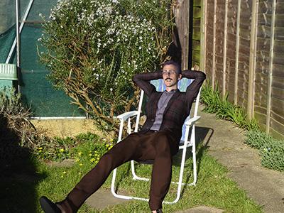 Fergus in garden